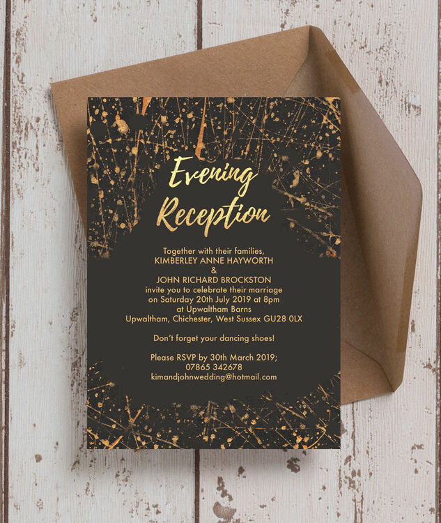 Black & Gold Abstract Evening Reception Invitation From £0