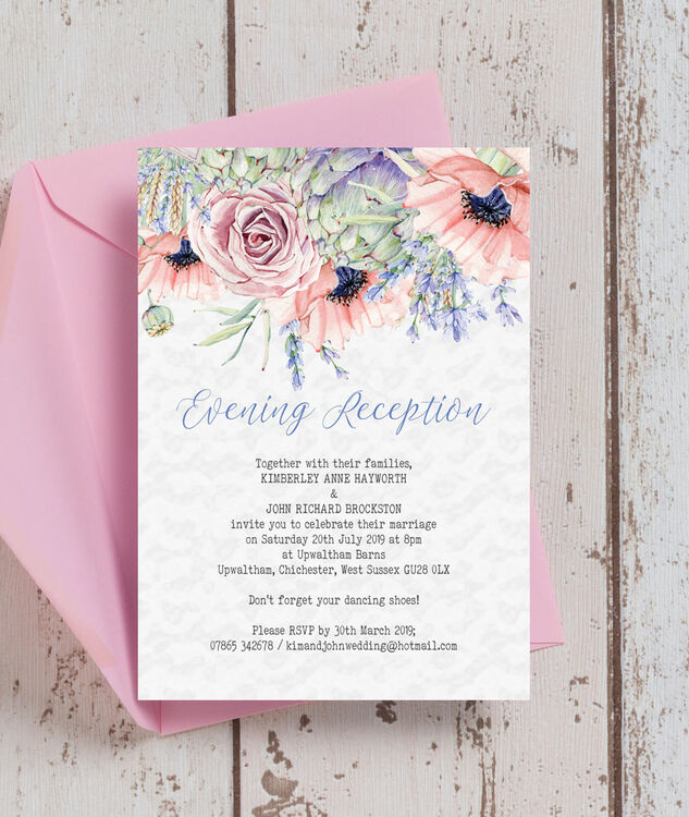 Country Flowers Evening Reception Invitation From 163 0 85 Each