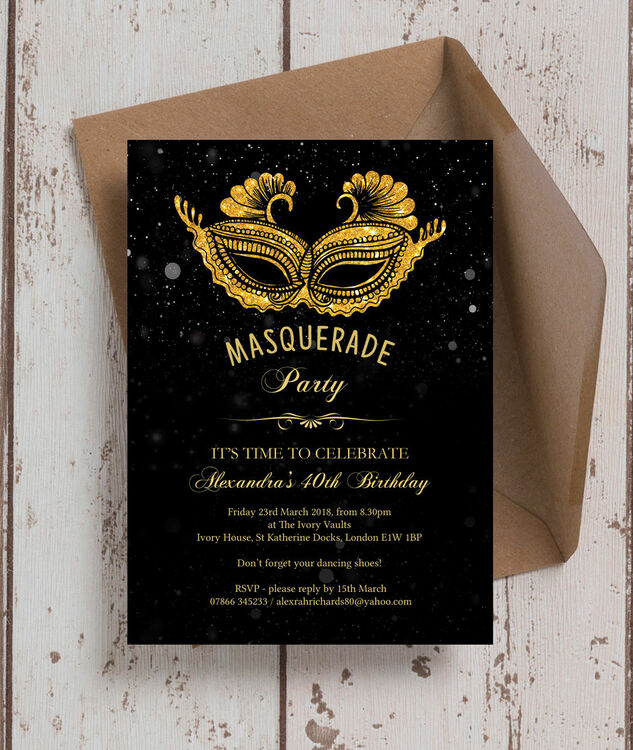 Masquerade Themed 40th Birthday Party Invitation Additional 3