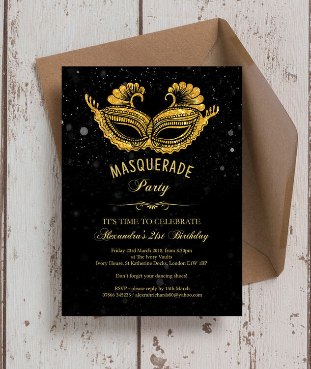 Masquerade Themed 21st Birthday Party Invitation Additional 2