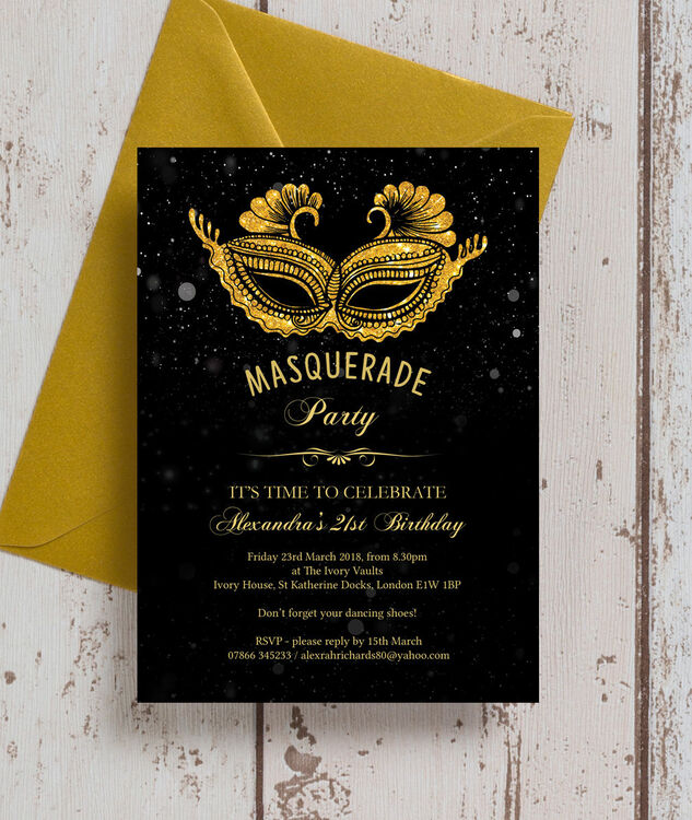 Masquerade Themed 21st Birthday Party Invitation Additional 1