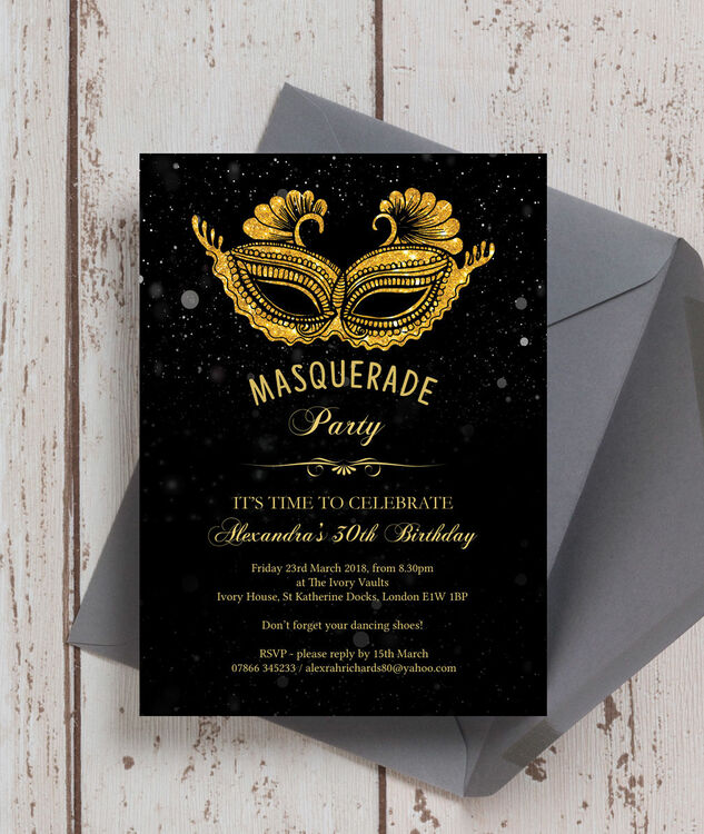 masquerade themed 30th birthday party invitation from  u00a30 90 each