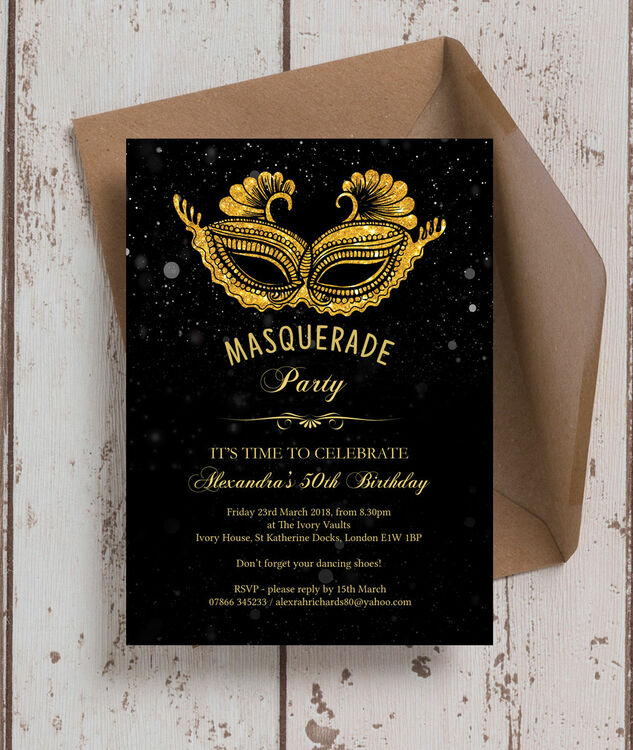 Masquerade Themed 50th Birthday Party Invitation Additional 2