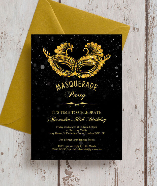 Masquerade Themed 50th Birthday Party Invitation Additional 1