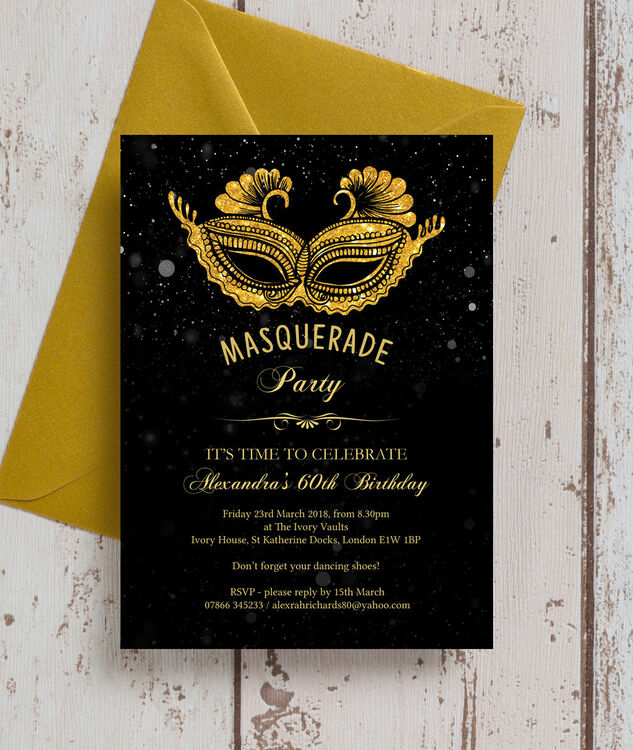 Masquerade Themed 60th Birthday Party Invitation Additional 1