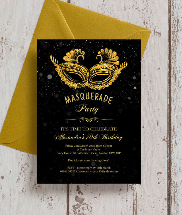 Masquerade themed 70th birthday party invitation from 090 each masquerade themed 70th birthday party invitation additional 1 filmwisefo