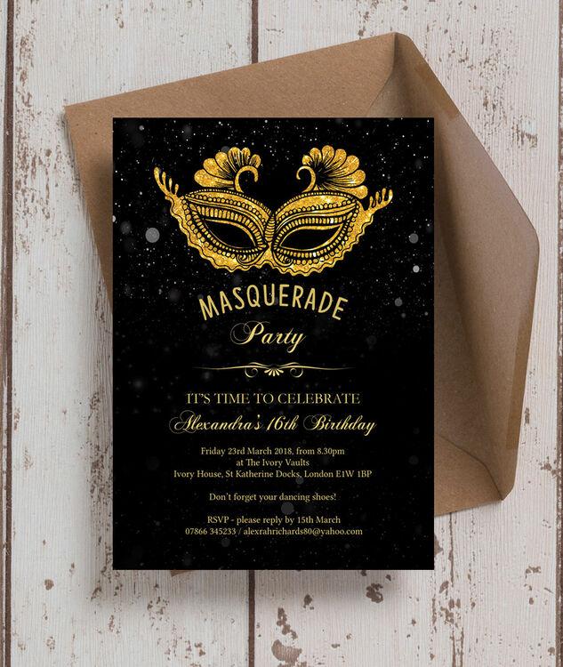 Masquerade Themed Milestone Birthday Party Invitation From 0 90 Each