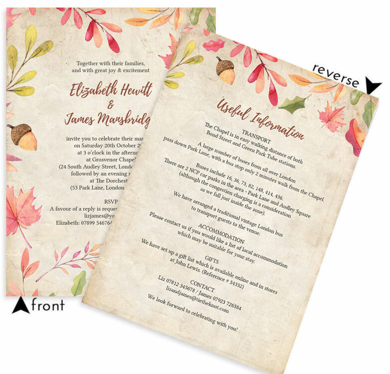 Autumn Leaves Wedding Invitation from £1.00 each