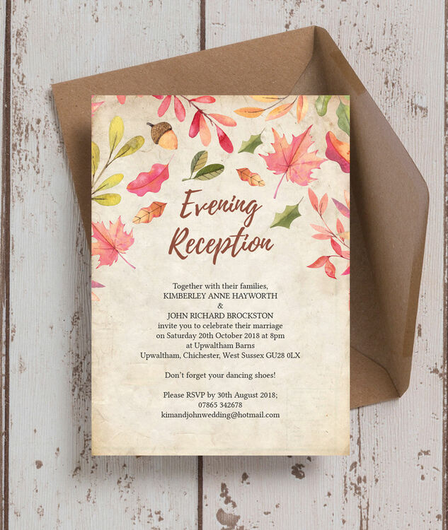 Wedding Ideas For Evening Reception: Autumn Leaves Evening Reception Invitation From £0.85 Each