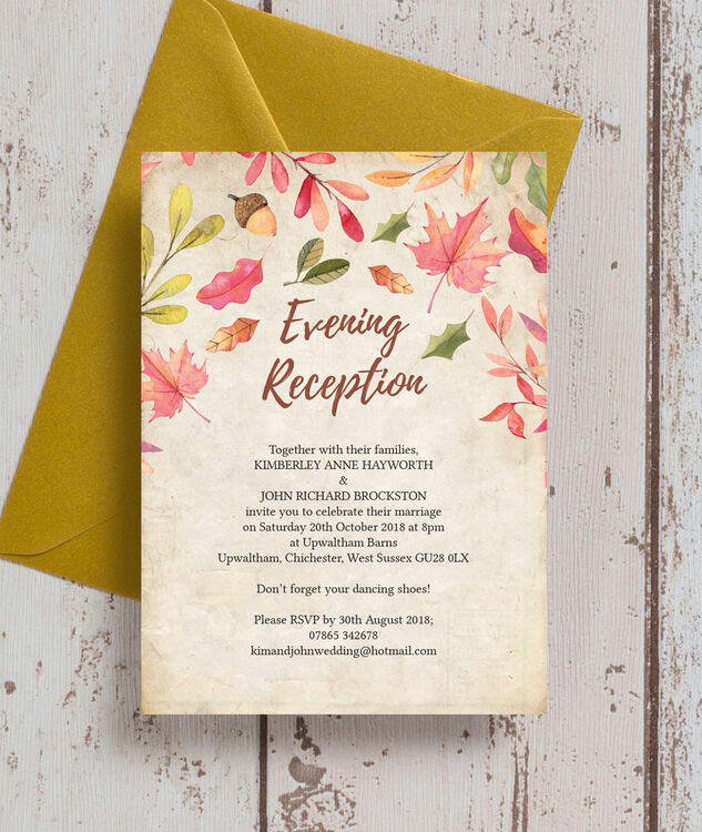 Fall Themed Wedding Invitations: Autumn Leaves Evening Reception Invitation From £0.85 Each