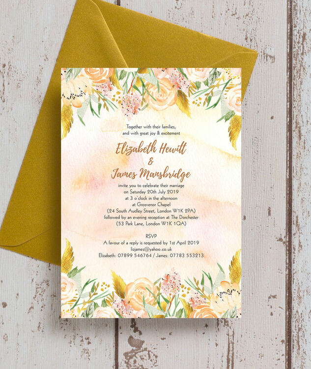 gold floral wedding invitation from 1 00 each