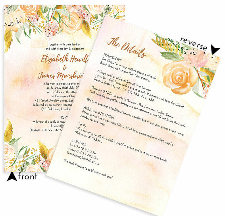 Gold Floral Wedding Invitation from £1.00 each