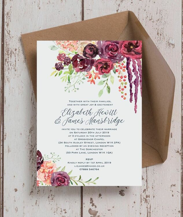 Burgundy Watercolour Floral Wedding Invitation from £1.00 each