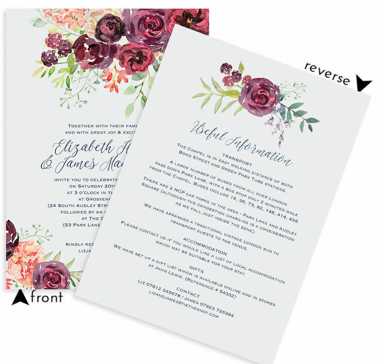 Burgundy watercolour floral wedding invitation from 100 each burgundy watercolour floral wedding invitation additional 4 stopboris Image collections
