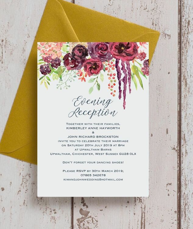 Wedding Ideas For Evening Reception: Burgundy Watercolour Floral Evening Reception Invitation
