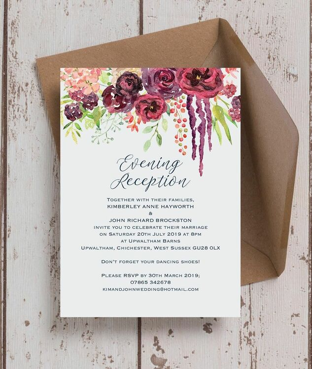burgundy watercolour floral evening reception invitation from 0 85 each