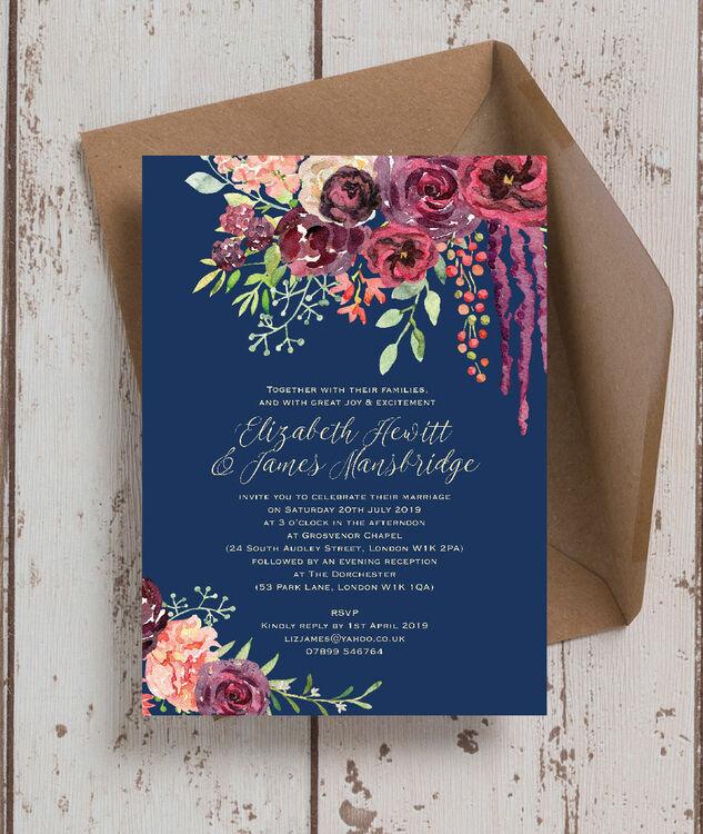 Navy & Burgundy Floral Wedding Invitation From £1.00 Each