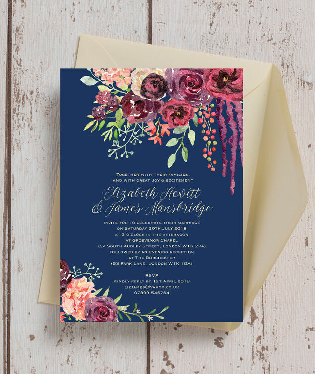 Wedding Video Invitation: Navy & Burgundy Floral Wedding Invitation From £1.00 Each