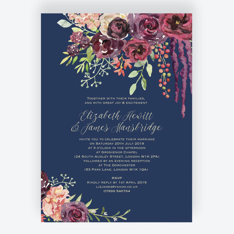 Navy & Burgundy Floral Wedding Invitation From £1.00 Each