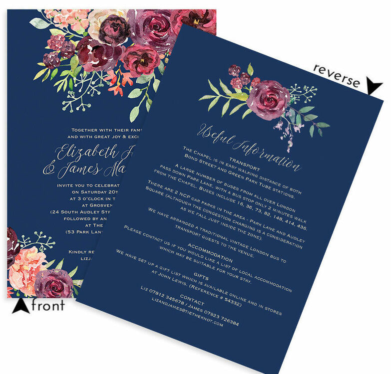 navy burgundy floral wedding invitation from 1 00 each