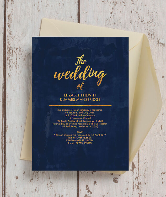Wedding Invitation Book Style: Navy & Gold Wedding Invitation From £1.00 Each