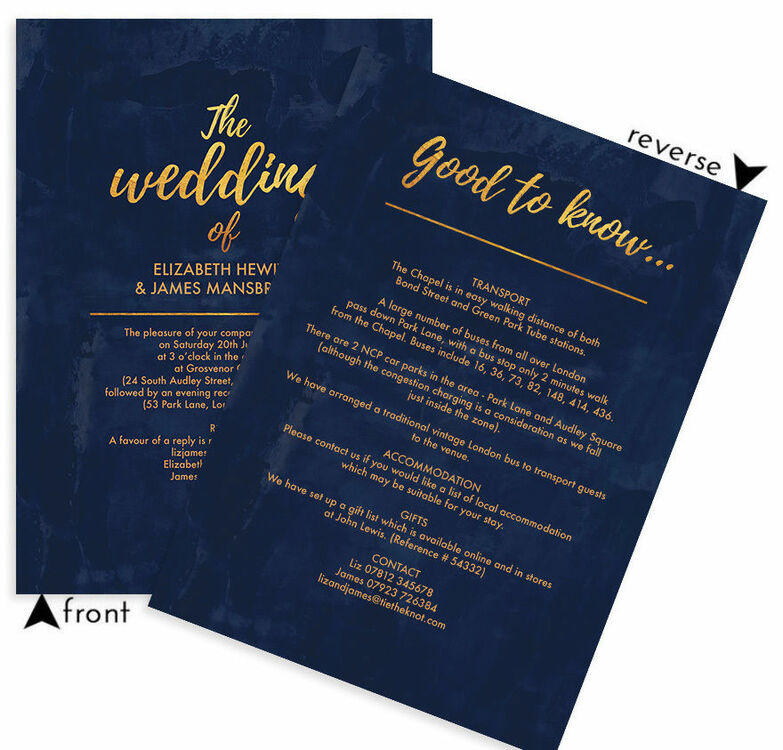 Navy gold wedding invitation from 100 each navy gold wedding invitation additional 4 stopboris Image collections