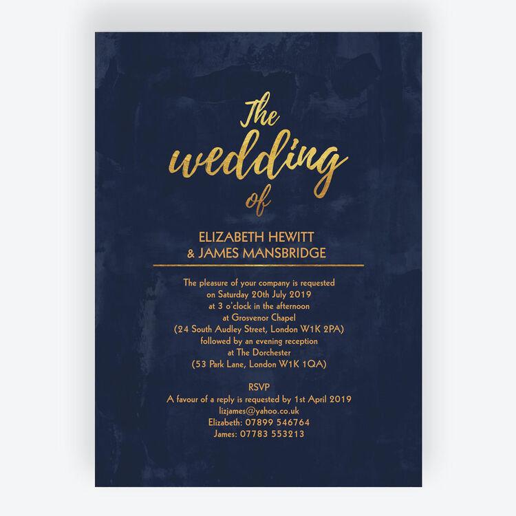 Navy & Gold Wedding Invitation From £1.00 Each