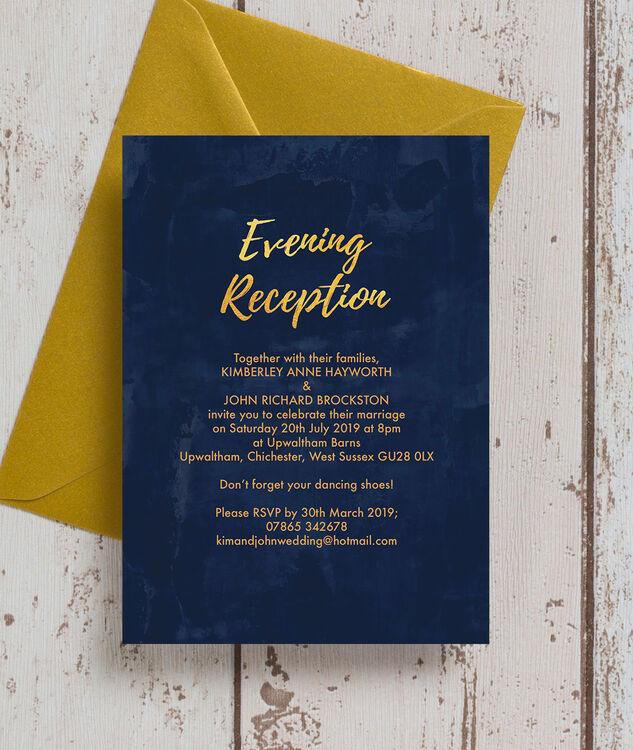 Navy & Gold Evening Reception Invitation From £0.85 Each