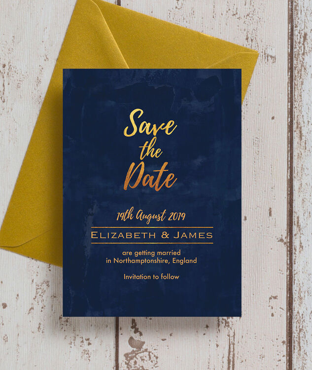 3a131dede9fbe ... Navy & Gold Save the Date additional 2 ...
