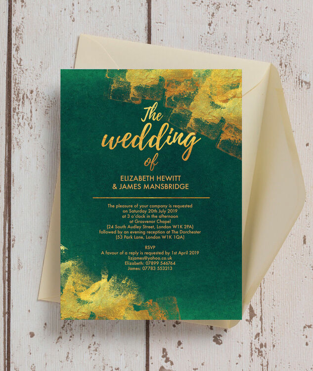 Emerald gold wedding invitation from 100 each emerald gold wedding invitation additional 2 junglespirit Choice Image