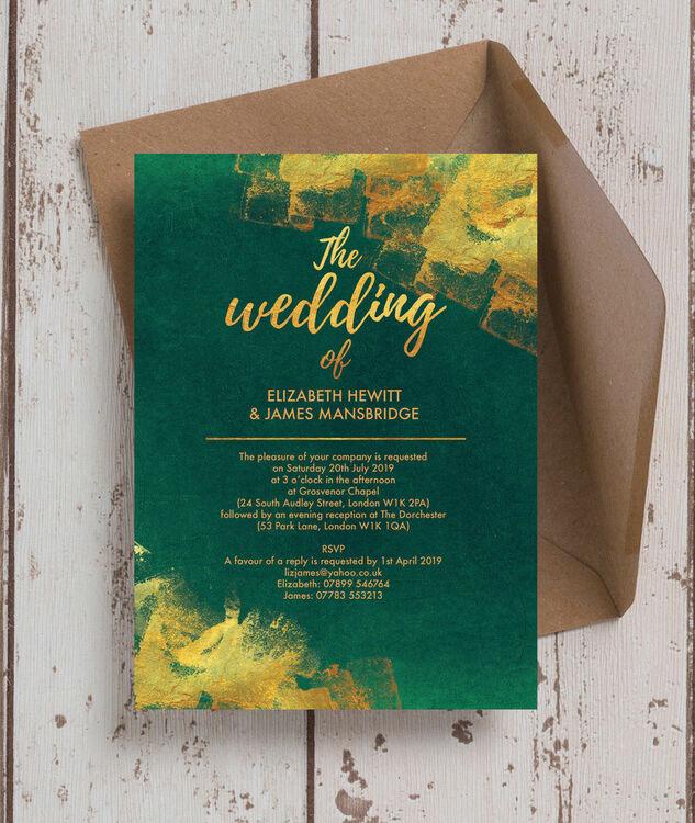 Emerald & Gold Wedding Invitation from £1.00 each