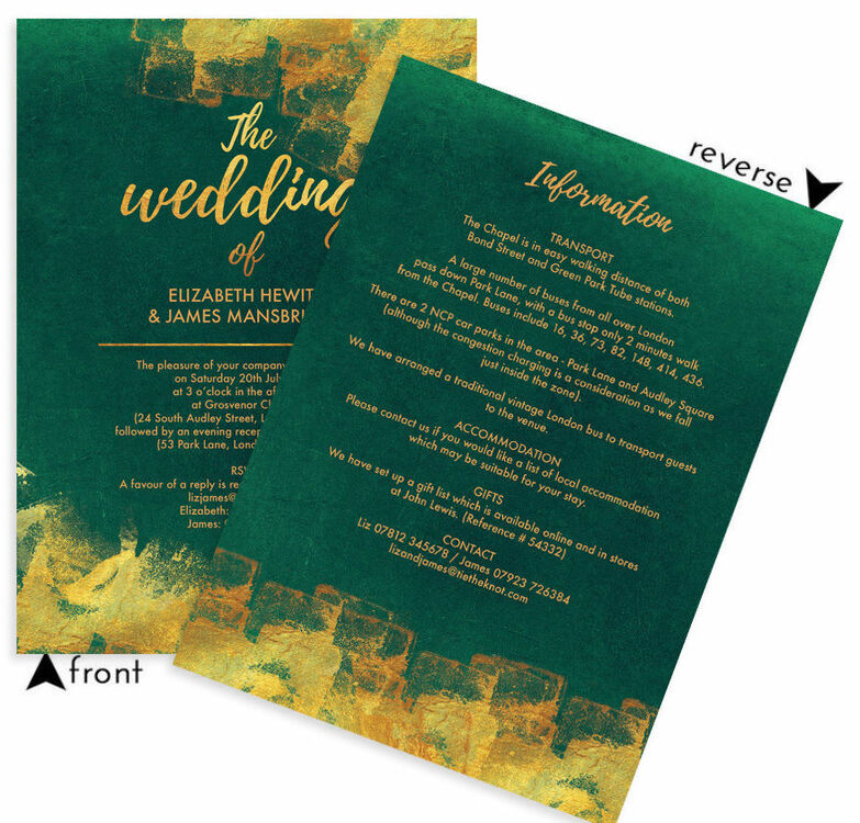 Emerald & Gold Wedding Invitation From £1.00 Each