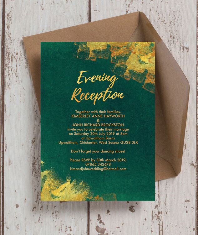 emerald gold evening reception invitation from 0 85 each