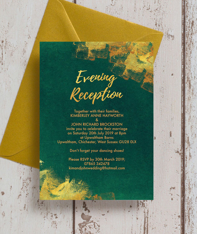 Emerald Gold Evening Reception Invitation From 085 Each