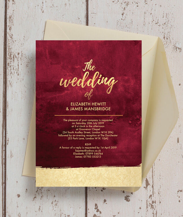 burgundy gold wedding invitation from each