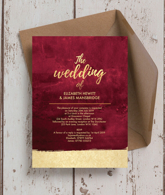 Burgundy gold wedding invitation from 100 each burgundy gold wedding invitation additional 3 junglespirit Image collections