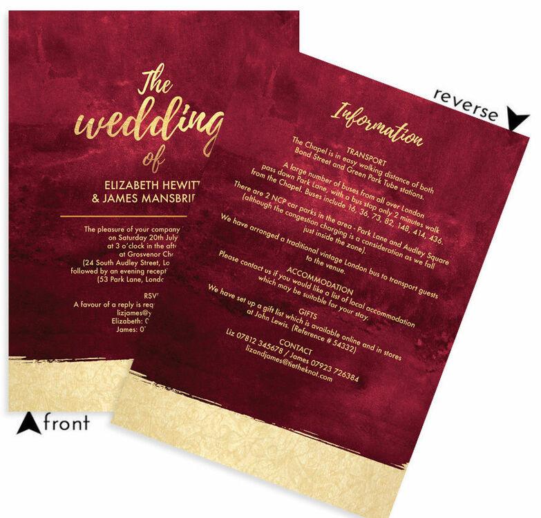 White Wedding Espa L: Burgundy & Gold Wedding Invitation From £1.00 Each