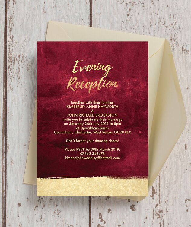 burgundy  u0026 gold evening reception invitation from  1 13 each