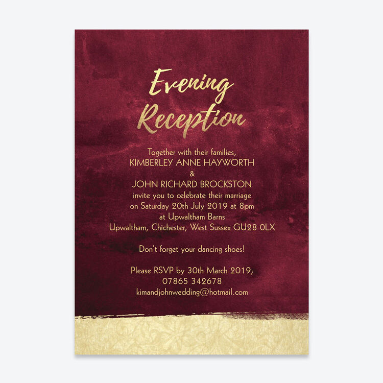 Invitation For Reception After The Wedding: Burgundy & Gold Evening Reception Invitation From £0.85 Each