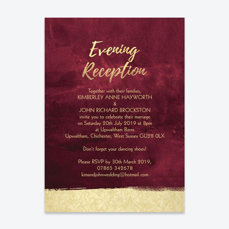 Wedding Ideas For Evening Reception: Burgundy & Gold Evening Reception Invitation From £0.85 Each