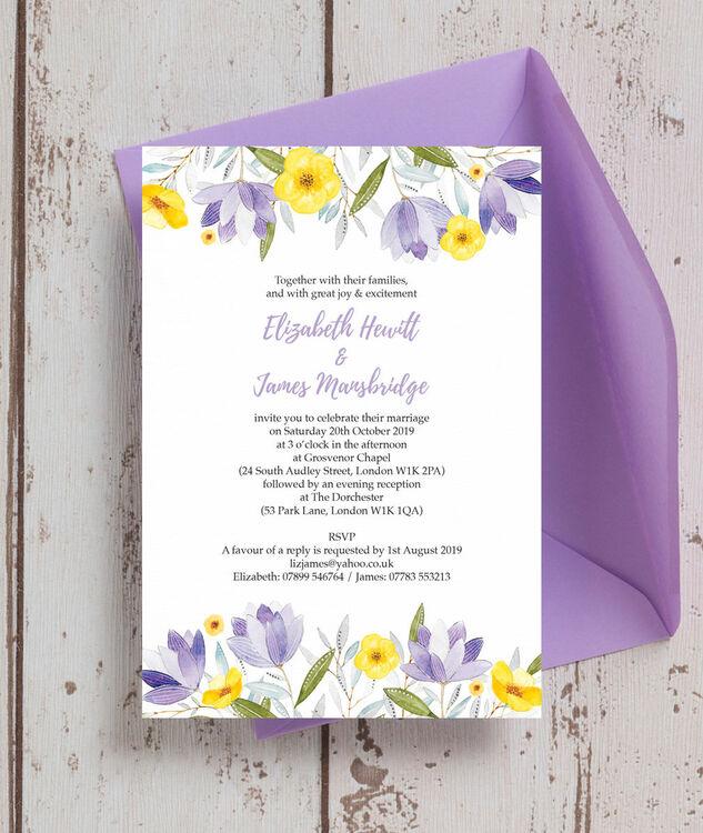 Lilac & Lemon Wedding Invitation from £1.00 each