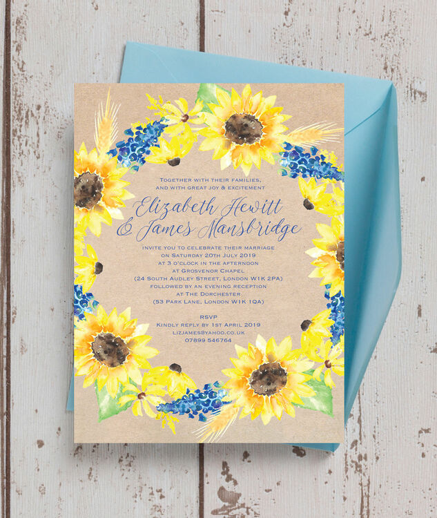 Rustic Sunflower Wedding Invitation from 100 each