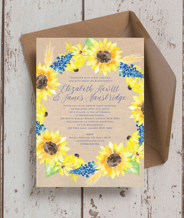 Rustic Sunflower Wedding Invitation Additional 3