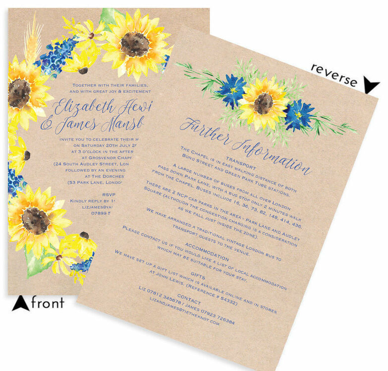 pack of 10 Fall Wedding invitations//Sunflower Wedding Invitations//Sunflower wedding invite//Wedding invitation and RSVP cards//personalized invitations