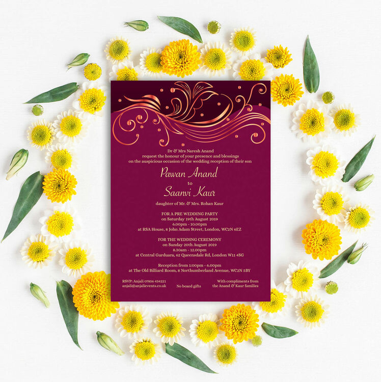 Burgundy & Rose Gold Indian / Asian Wedding Invitation from £1.00 each