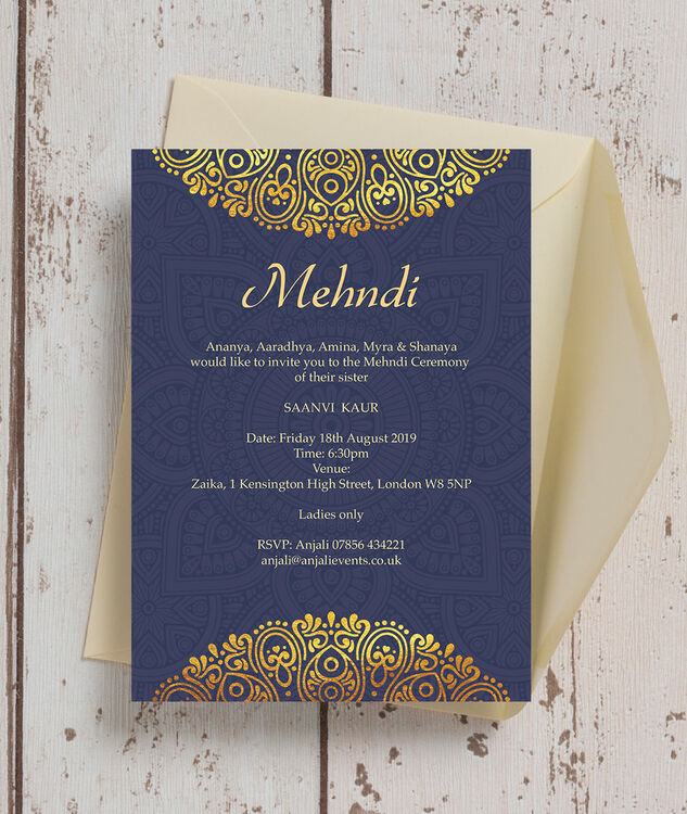 Red And Gold Muslim Wedding Invitation Card Ssc10r: Navy Blue & Gold Mehndi / Baraat Card From £0.85 Each