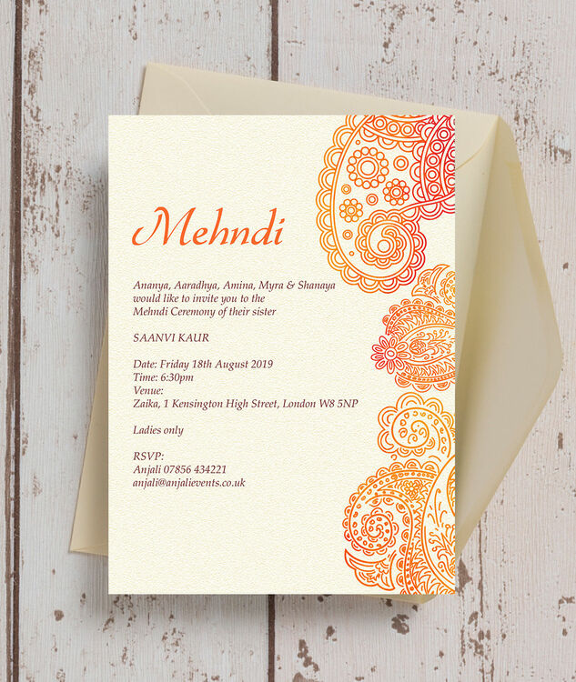 Orange Red Paisley Mehndi Baraat Card from 100 each
