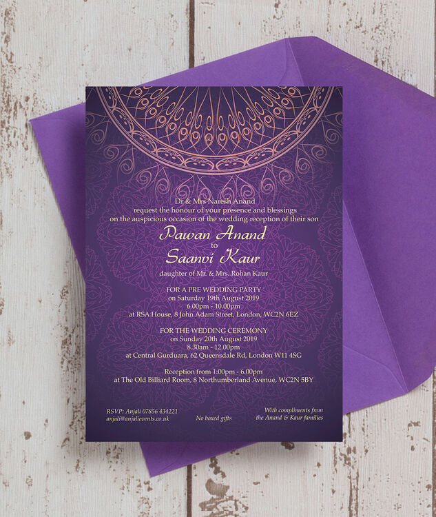 Purple gold indian asian wedding invitation from gbp100 for Lavender avenue wedding invitations