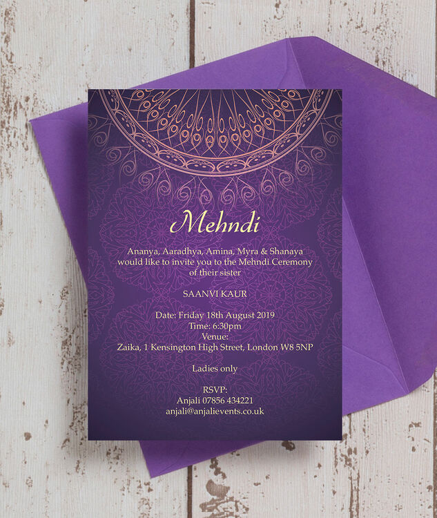 Purple Amp Gold Mehndi Baraat Card From 163 0 85 Each