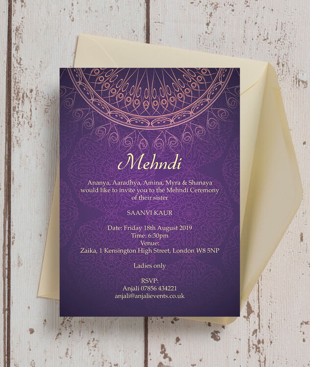 Purple Gold Mehndi Baraat Card from 100 each